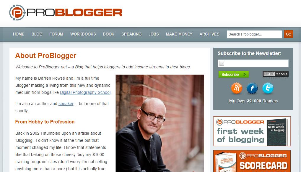 ProBloggerの概要ページ