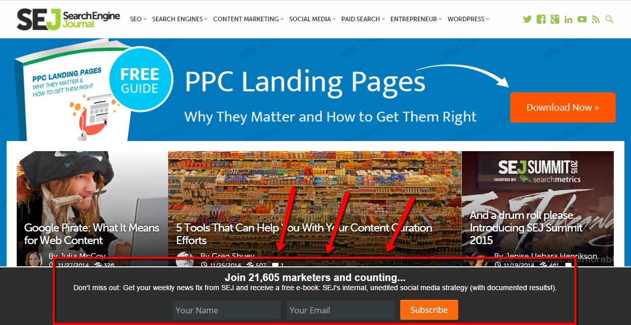 Search Engine Journalのポップアップ