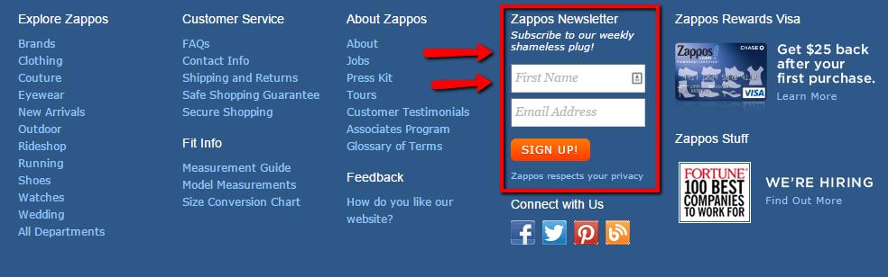 Zapposのオプトインフォーム