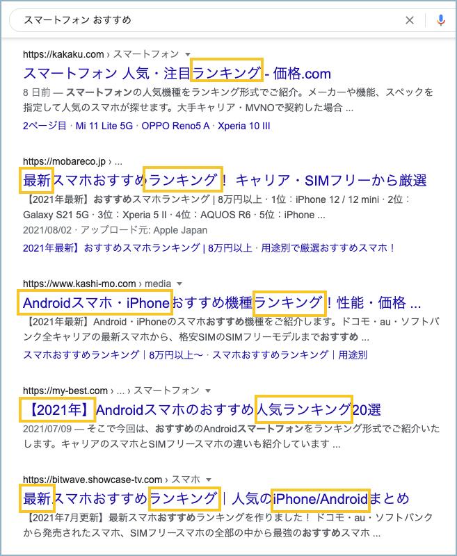 Google 検索結果のサンプル